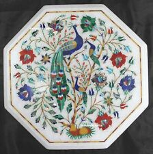14 Inches Marble Peacock Inlay Table Top With Wooden Stand  Elegant Handwork Art