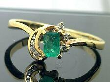 Cocktail Ring Green Emerald Diamond 18k Yellow Gold Estate Jewelry Womens Size 8