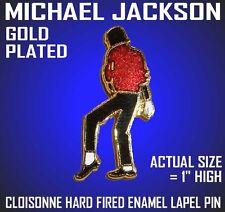 MICHAEL JACKSON HARD FIRED ENAMEL GOLD PLATED LAPEL PIN CLOISONNE w/ GIFT BOX