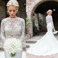 2018 Wedding Dresses Lace Long Sleeve Bridal Dress Mermaid Custom Size Handmade