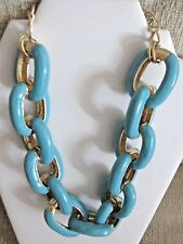 Kenneth Jay Lane $450 Turquoise 22K Gold Plated Enamel Chain Link Necklace USA