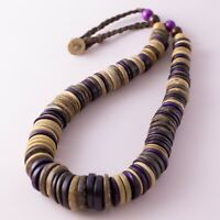 Chunky Purple Brown Wood Coconut Disc Beaded Ethnic Boho Bohemian Necklace 22""