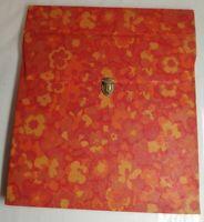 Pochette range vinyle vintage décoration florale orange, Korès, capacité 12 viny