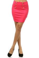 S M L Military Button Skirt Mini Ponte Stretch Black Blue Ivory Pink Sexy New