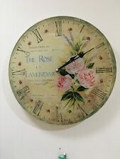 The rose Et Lavendar Vintage Battery Fibreglass Wall Clock