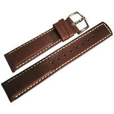 24mm Hirsch Mariner Mens Brown Waterproof Leather White Stitch Watch Band Strap
