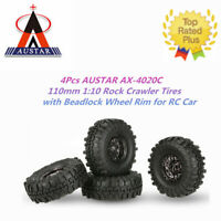 4Pcs 1.9in 110mm 1/10 Rock Crawler Tires with Beadlock Wheel Rim for RC Car U1A8