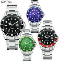 GONEWA Men Military Stainless Steel Watch Date Sport Quartz Analog Wrist Watch
