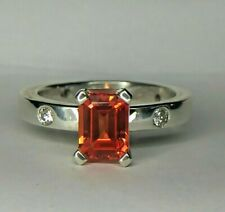 Cartier 2.00 Carat Orange Natural Topaz & Natural Diamond Sterling Silver Ring