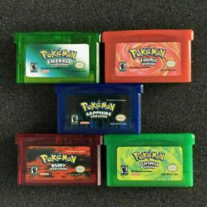 5PC Pokemon Gameboy Advance Cartridge Game Card For Nintendo NDSL/GBC/GBM/GBA/SP