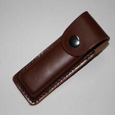 Handmade Genuine Leather Folding Knife Sheath Pouch Belt Clip Vintage Dark Brown