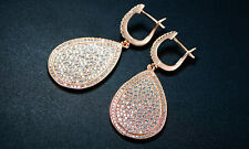 Sevil 18K Rose Gold Plated Swarovski Elements Teardrop Hoop Earrings