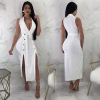 Womens Slit Dress Sleeveless Casual Skirt Evening Cocktail V-neck Bodycon Belt
