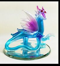 Hand Made Glass Blue Dragon w/ Purple Wings