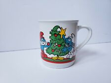 Vintage Smurf Mug Coffee Cup Merry Christmas 1981 Hanna-Barbera Papa Smurf