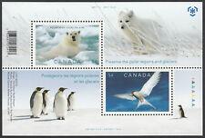 POLAR BEAR = ARCTIC TERN & FOX = Souvenir sheet of 2 Canada 2009 #2327b MNH VF