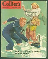 April 4, 1942 Collier's Magazine WWII Navy Sailor Fishing Cover