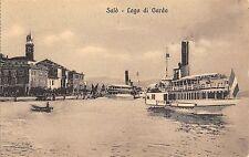 2414) SALO' BRESCIA IL PORTO CON DUE VAPORETTI.