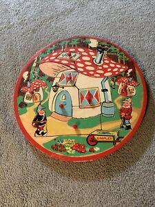 Vtg Toy Wooden Simplex Puzzle Peek a Boo Holland Garden Elves Gnomes Mushrooms