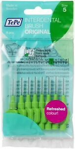 TePe Interdental Brush Packs of 8 - GREEN 0.80mm Clean 40% more Tooth Surface