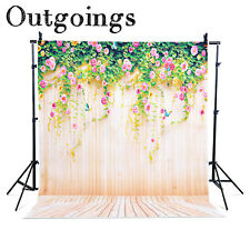 Photography Backdrop Photo Stand Studio Background Yellow Wood Flower 5x7ft