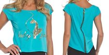 BABY PHAT Sequined Zipper Back High Low Short Sleeve Blue Top Plus Size 1X Teal