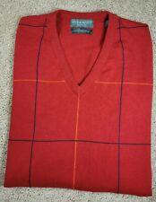 New! LYLE & SCOTT-Red Comb.Cttn Check, Mens V.Neck Pullover Sweater Vest-(XL)