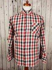 """Vtg 1980s Red / Black Check Long Sleeve PolyCotton Shirt  -15""""/M- HA74"""