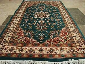 New Floral Ivory Touch Medallion Area Rug Hand Knotted Wool Silk Carpet (5 x 3)'