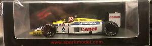 Spark 1/43 Williams Honda FW11 N.6 N.Piquet Winner Brazil GP 1986, New!
