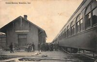 Postcard Union Station Railroad Train Station Depot in Waterloo, Indiana~123697