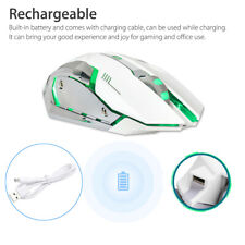 Wireless USB Optical Gaming Mouse Rechargeable X7 Backlit Laptop Mice White