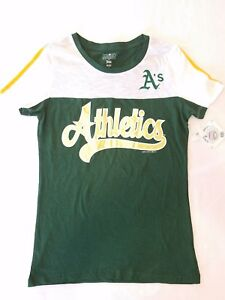 Oakland Athletics Women Campus Lifestyle Tee Striped Sleeve Size XS Gold Letters