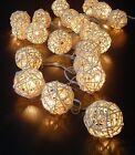 20 Rattan Ball String Lights Party Patio Holiday Christmas Wedding Bedroom Decor