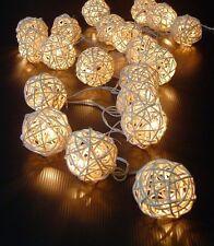 20 Warm White Rattan Ball LED String Fairy Lights Lanterns Wedding Decor Party