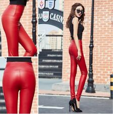 Lady Sexy Winter Fleece Leather Pants High Loin Stretch Leggings Pencil Trousers