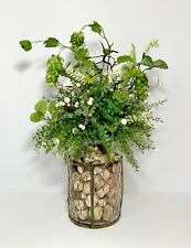 Wire Covered Glass Jar Floral Arrangement Large Centerpiece Country Kitchen New