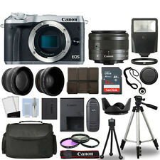 Canon EOS M6 Camera Body Silver + 3 Lens Kit 15-45mm IS STM+ 32GB + Flash & More
