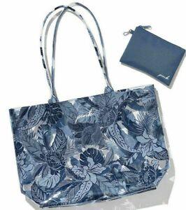 Victoria Secret PINK Beach Tote BAG POUCH Tropical Floral Blue wallet travel XL