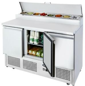 Commercial Triple 3 Door Counter Open Top Pizza Saladette Food Prep Fridge