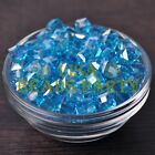 New 10pcs 8mm Cube Square Faceted Crystal Glass Loose Spacer Beads Lake Blue AB