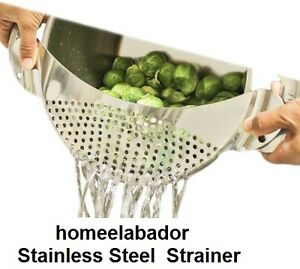 Stainless Steel Pan Drainer Pasta Strainer Colander Sieve Fit 10 inch Pot UK