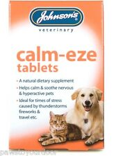 Johnsons Calm-eze Tablets Dog Cat Stress Calm Natural Nervous Fireworks Anxiety