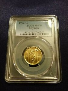 1992 W Olympics $5 Gold Coin PCGS MS 70