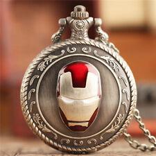 Bronze Iron Man Women Men Quartz Pocket Watch Necklace Chain  Gift for Children