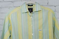 Faconnable Button-Down Shirt - Mens XS - Yellow/Blue/Green Vertical Stripe