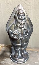Belsnickle Santa Claus with Basket Tin Style Silver Resin Chocolate Mold Decor