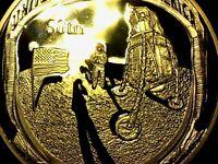 Moneda conmemorativa 50 aniversario Apollo aterrizaje en la luna bandera oro