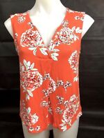 SUZANNE GRAE Women's Floral Print Orange Sleeveless Blouse Size Small