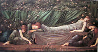 "Fine Oil painting J. W. Waterhouse - Nice young girls the sleeping Princess 36"""